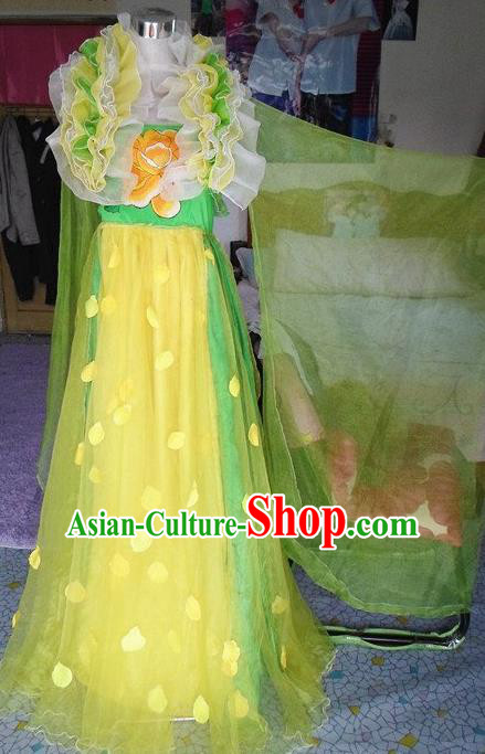 Traditional Chinese Classical Dance Embroidered Costumes Ancient Peri Green Hanfu Dress for Women