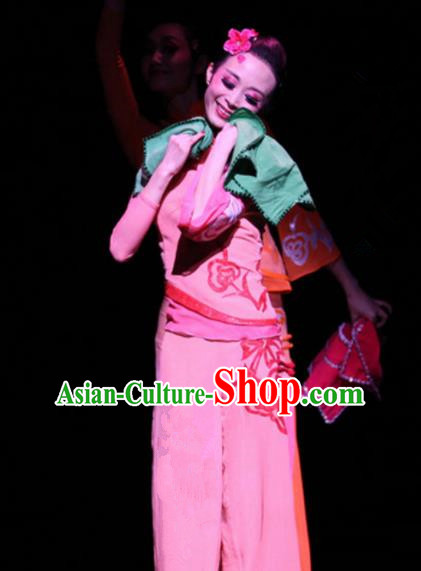 Chinese Traditional Classical Dance Costumes Folk Dance Pink Clothing for Women