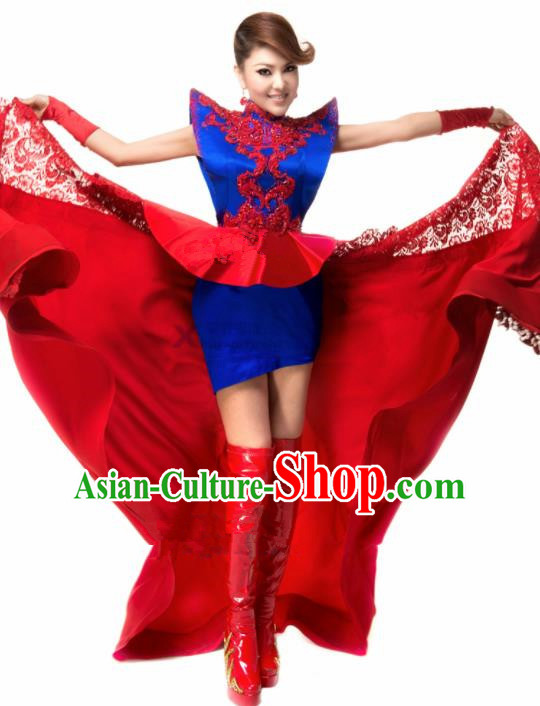 Chinese Traditional Classical Dance Costumes Folk Dance Red Lace Dress for Women