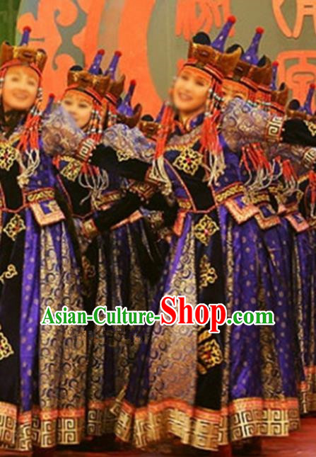 Chinese Traditional Ethnic Costumes Stage Performance Mongolian Minority Nationality Dance Purple Dress for Women