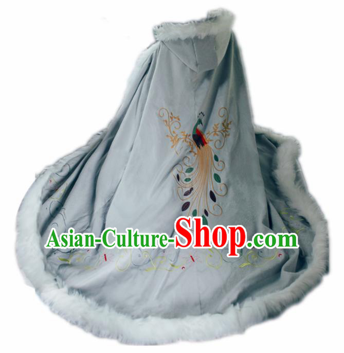 Chinese Traditional Costume Ancient Ming Dynasty Princess Embroidered Beige Cloak for Women