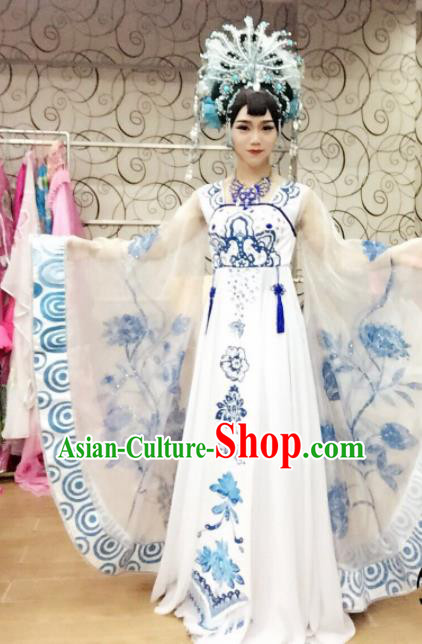 Chinese Traditional Classical Dance Costume Ancient Tang Dynasty Imperial Consort Embroidered Dress for Women