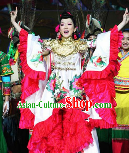 Chinese Traditional Classical Dance Costumes Ancient Folk Dance Flowers Dress for Women