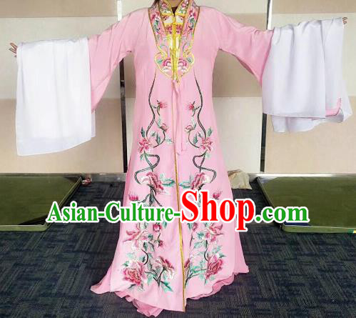 Chinese Traditional Beijing Opera Embroidered Costume Ancient Imperial Consort Pink Hanfu Dress for Women