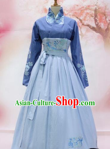 Traditional Chinese Tang Dynasty Embroidered Costume Ancient Princess Blue Hanfu Dress for Women