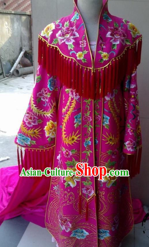 Traditional Chinese Tang Dynasty Costume Ancient Imperial Consort Embroidered Rosy Hanfu Dress for Women