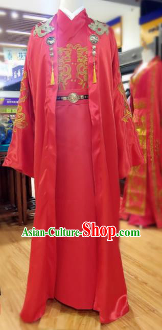 Chinese Traditional Wedding Embroidered Robe Ancient Tang Dynasty Bridegroom Costumes for Men