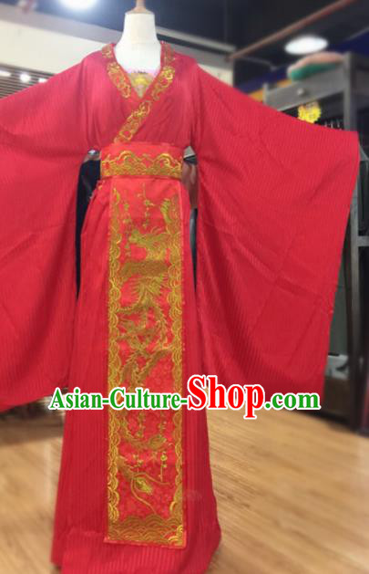 Traditional Chinese Tang Dynasty Wedding Historical Costumes Ancient Bride Embroidered Red Dress for Women