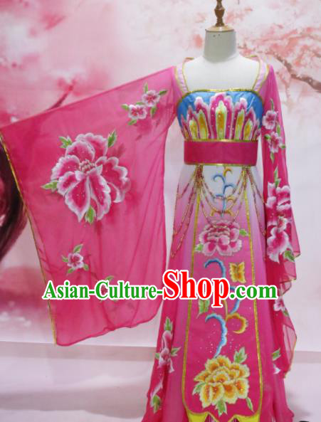 Chinese Traditional Embroidered Costume Ancient Tang Dynasty Imperial Consort Pink Hanfu Dress for Women