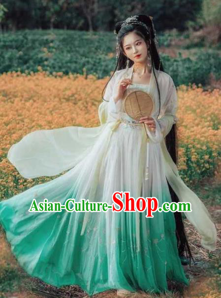 Traditional Chinese Hanfu Dress Ancient Peri Tang Dynasty Princess Embroidered Costumes for Women