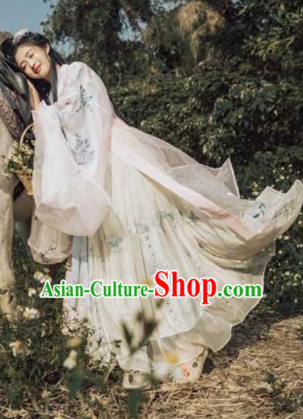 Traditional Chinese Palace Hanfu Dress Ancient Jin Dynasty Princess Embroidered Costumes for Women