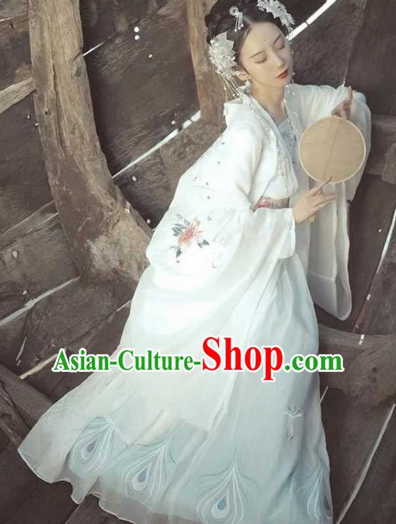 Traditional Chinese Tang Dynasty Imperial Consort Hanfu Dress Ancient Peri Goddess Chang-E Embroidered Costumes for Women