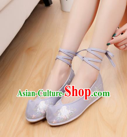 Chinese Traditional National Shoes Ancient Hanfu Shoes Blue Embroidered Shoes for Women