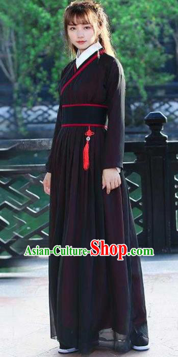 Traditional Chinese Ancient Han Dynasty Swordswoman Embroidered Hanfu Dress for Women