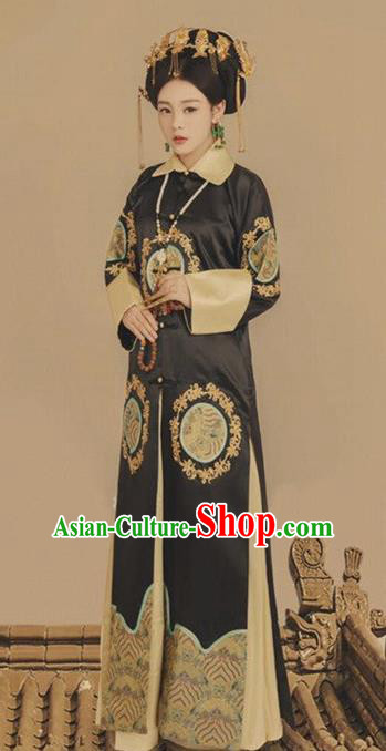 Traditional Chinese Ancient Qing Dynasty Manchu Empress Embroidered Costumes for Women