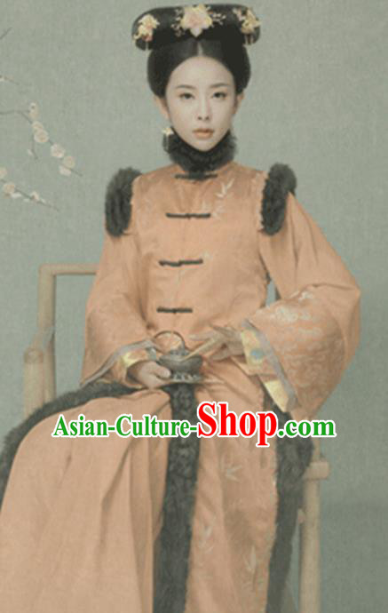 Traditional Chinese Qing Dynasty Manchu Princess Costumes Ancient Imperial Consort Dress and Headpiece for Women