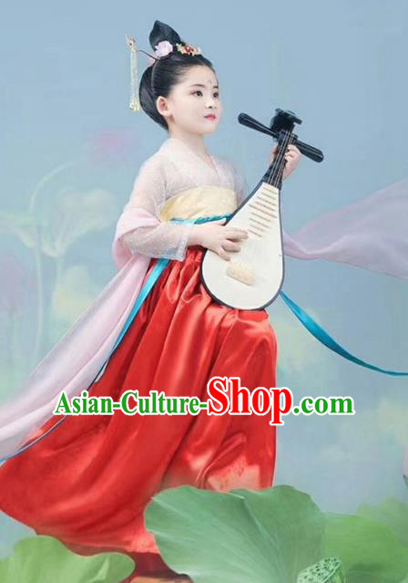 Traditional Chinese Ancient Peri Princess Costumes and Headpiece for Kids