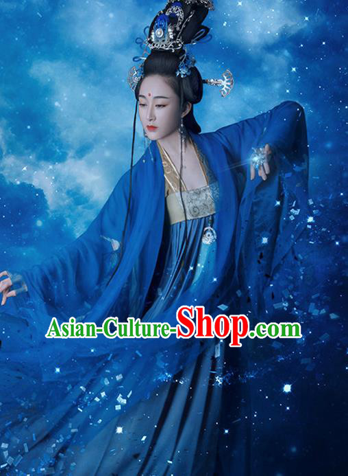 Traditional Chinese Ancient Tang Dynasty Imperial Concubine Costumes and Headpiece Complete Set for Women