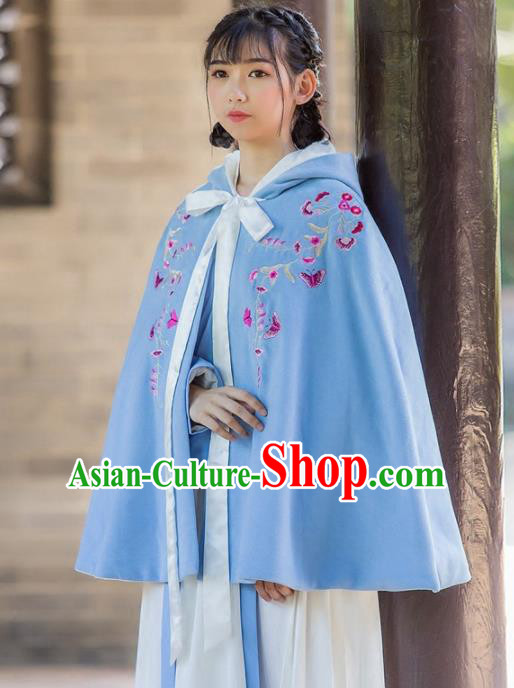 Traditional Chinese Ancient Princess Costumes Embroidered Blue Cloak for Women