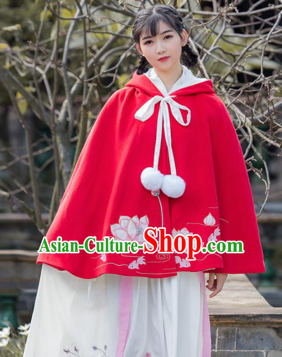 Traditional Chinese Ancient Princess Costumes Embroidered Lotus Red Cloak for Women