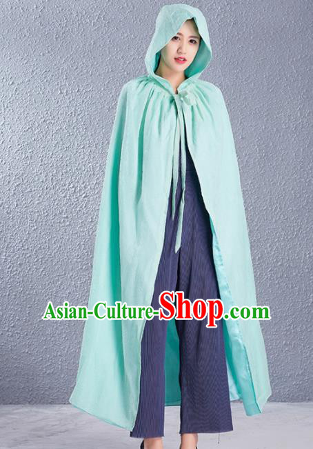 Traditional Chinese Ancient Costumes Hanfu Green Cloak for Women