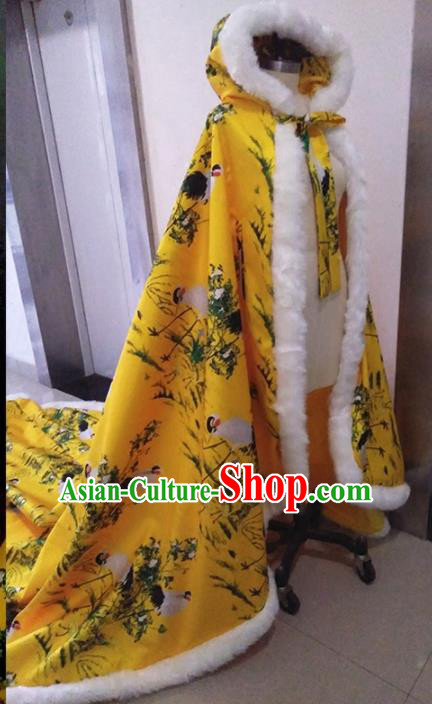 Traditional Chinese Ancient Costumes Hanfu Printing Crane Yellow Long Cloak for Women
