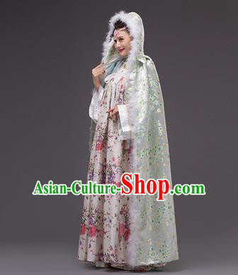 Chinese Traditional Costumes Ancient Peri Princess Hanfu Green Cloak for Women