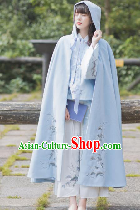 Chinese Traditional Costumes Ancient Princess Hanfu Embroidered Blue Woolen Cloak for Women