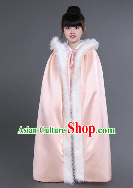 Chinese Traditional Costumes Ancient Princess Hanfu Pink Satin Cloak for Kids