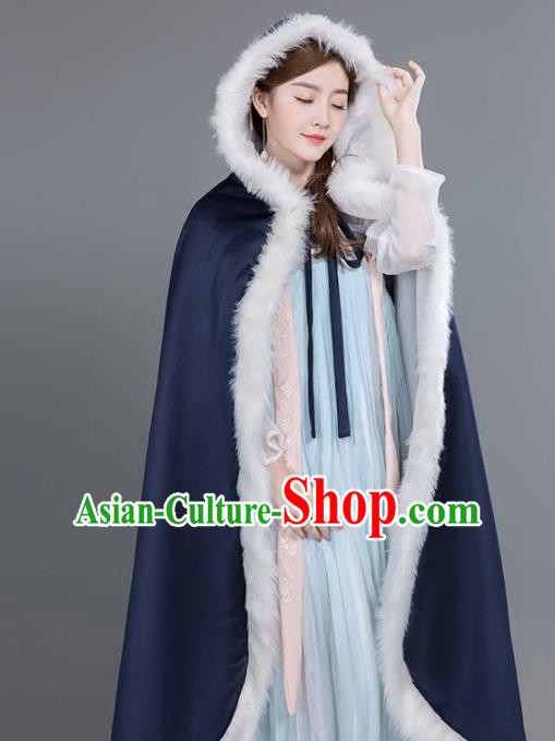 Chinese Traditional Costumes Ancient Princess Hanfu Navy Satin Cloak for Women