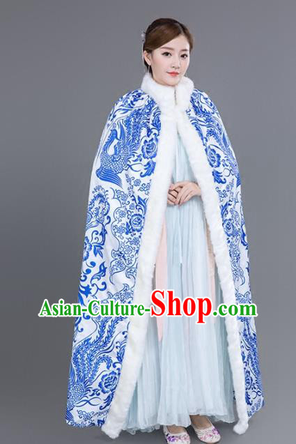 Chinese Traditional Costumes Ancient Princess Hanfu Blue Phoenix Cloak for Women