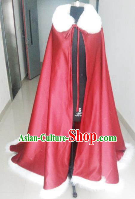 Chinese Traditional Costumes Ancient Princess Hanfu Red Brocade Long Cloak for Women