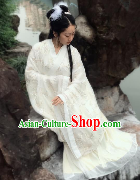 Chinese Ancient Wei Jin Dynasty Princess Embroidered Costumes for Women