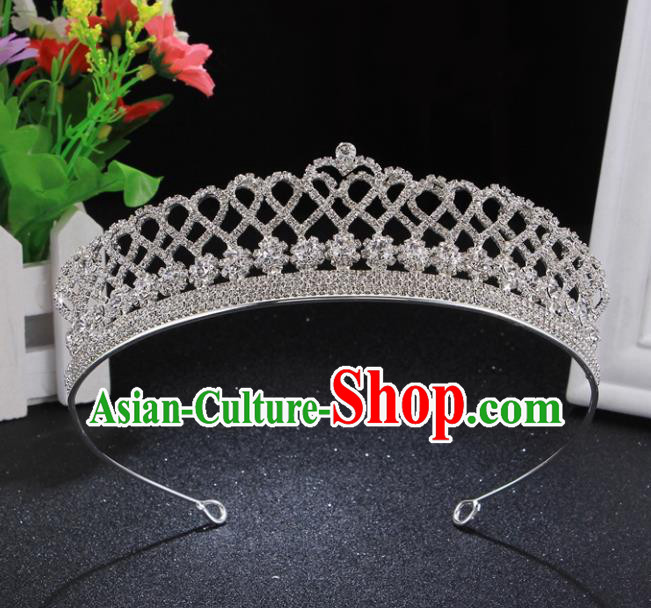 Handmade Wedding Bride Rhinestone Hair Accessories Baroque Princess Hair Clasp Retro Crystal Royal Crown for Women