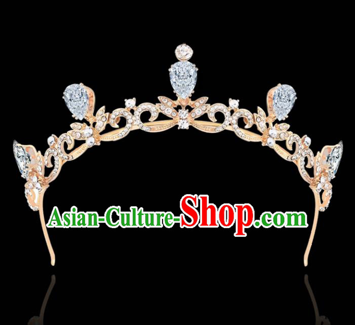 Top Grade Retro Princess Royal Crown Rhinestone Hair Clasp Baroque Wedding Bride Hair Accessories for Women