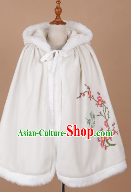 Traditional Chinese Ancient Ming Dynasty Princess Costume Embroidered White Cloak for Rich Women