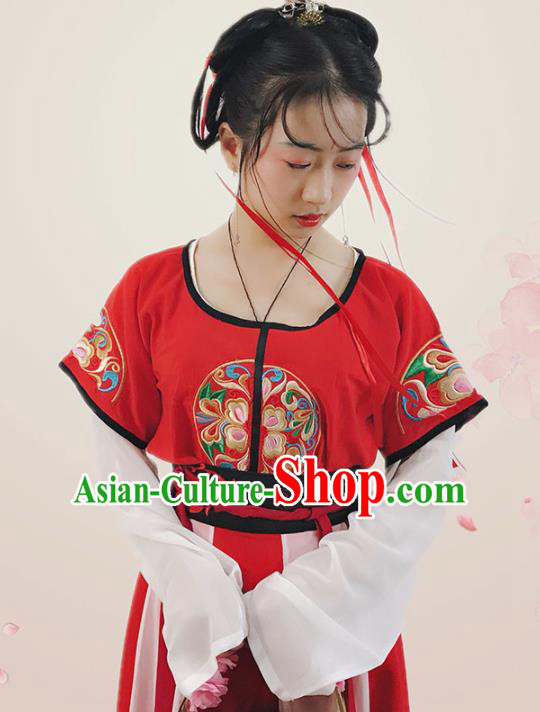 Ancient Chinese Tang Dynasty Court Princess Embroidered Costumes for Women
