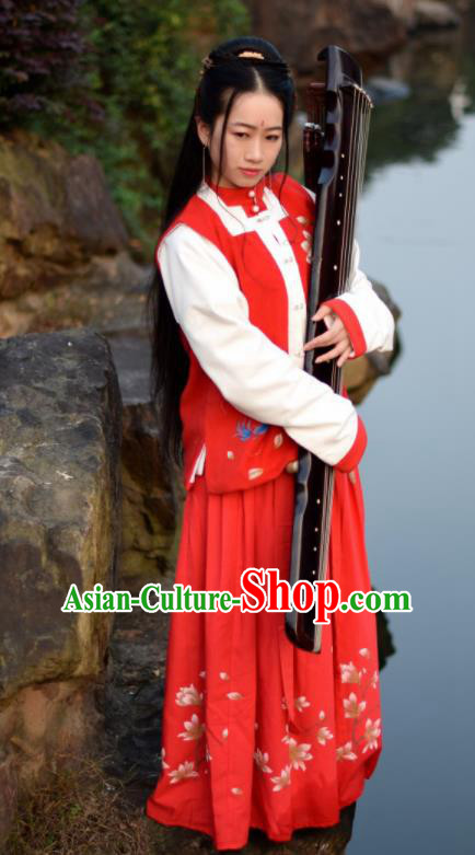 Ancient Chinese Ming Dynasty Nobility Lady Embroidered Red Costumes Complete Set for Women