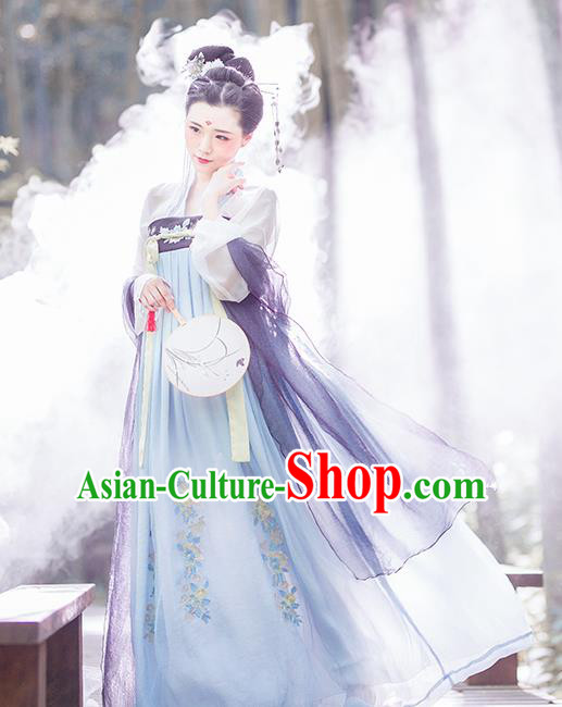 Chinese Ancient Tang Dynasty Imperial Consort Embroidered Costumes Complete Set for Women