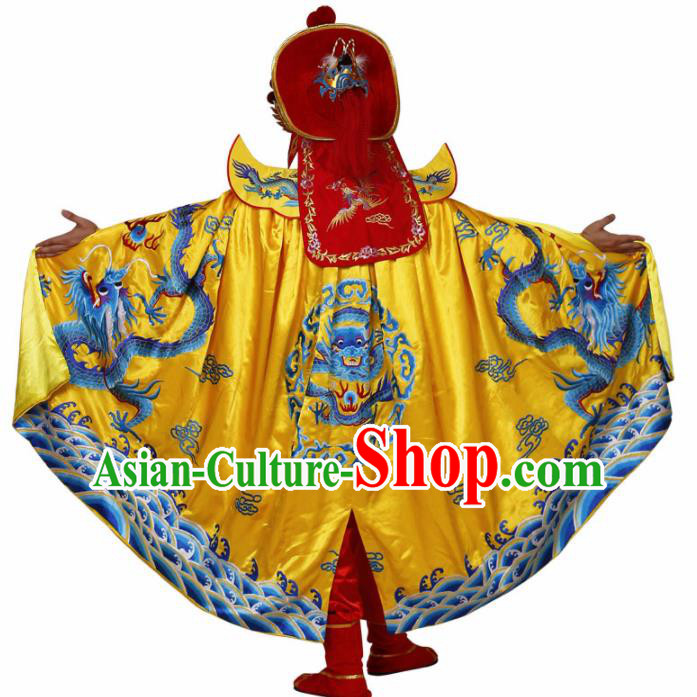 Traditional Chinese Beijing Opera Costume Sichuan Opera Changing Faces Embroidered Yellow Cloak for Men