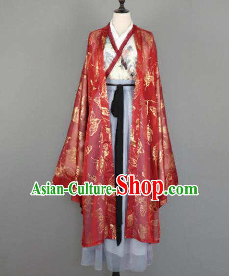 Chinese Jin Dynasty Nobility Lady Costumes Ancient Princess Embroidered Hanfu Dress for Women