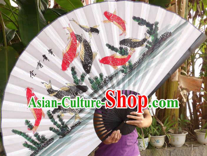 Chinese Traditional Paper Fans Decoration Crafts Handmade Printing Nine Fishes Black Frame Folding Fans