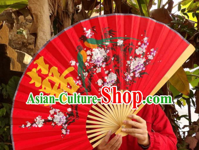 Chinese Traditional Handmade Red Silk Fans Decoration Crafts Ink Painting Magpie Plum Blossom Wood Frame Folding Fans