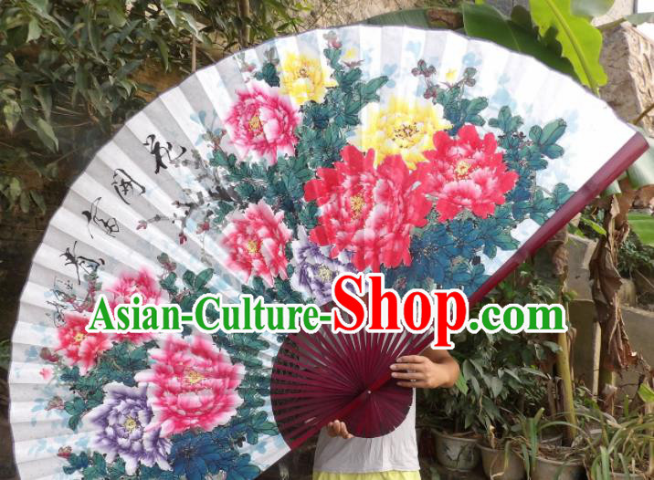 Chinese Traditional Fans Decoration Crafts Red Frame Hand Painting Peony Flowers Folding Fans Paper Fans