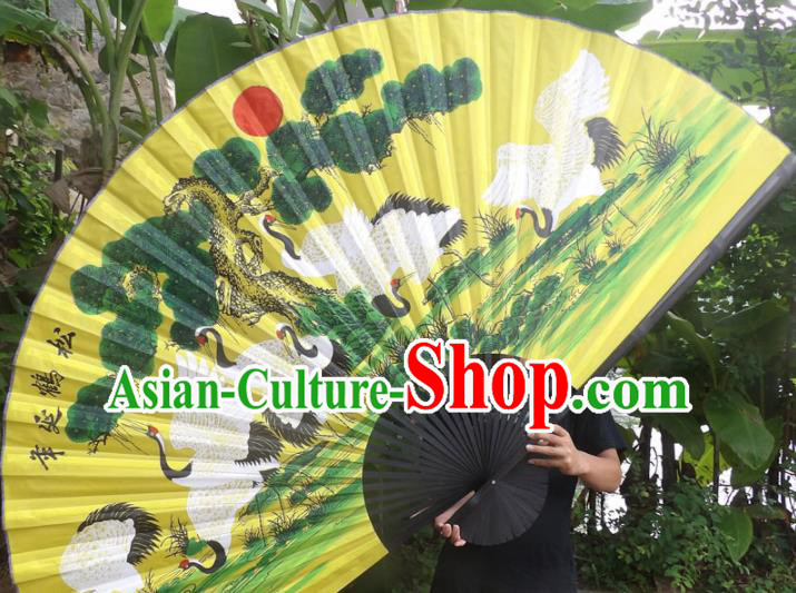 Chinese Traditional Fans Decoration Crafts Black Frame Painting Cranes Folding Fans Yellow Paper Fans