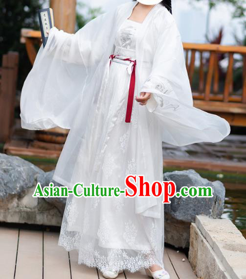 Chinese Tang Dynasty Princess Embroidered Costumes Ancient Peri White Hanfu Dress for Women
