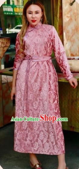 Chinese Traditional Mongol Ethnic Costume Mongolian Minority Nationality Pink Dress for Women