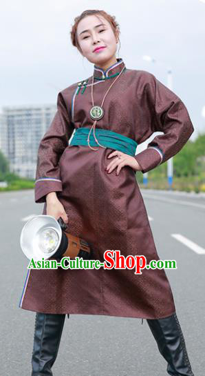 Chinese Mongol Minority Ethnic Costume Traditional Brown Brocade Mongolian Robe for Women