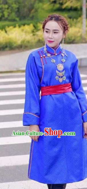 Chinese Mongol Minority Ethnic Costume Traditional Blue Brocade Mongolian Robe for Women