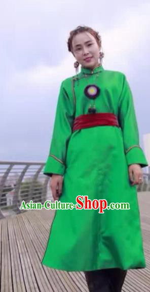 Chinese Mongol Minority Ethnic Costume Traditional Light Green Brocade Mongolian Robe for Women